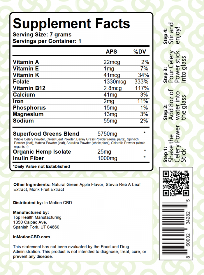 Celery Power Supplement Facts