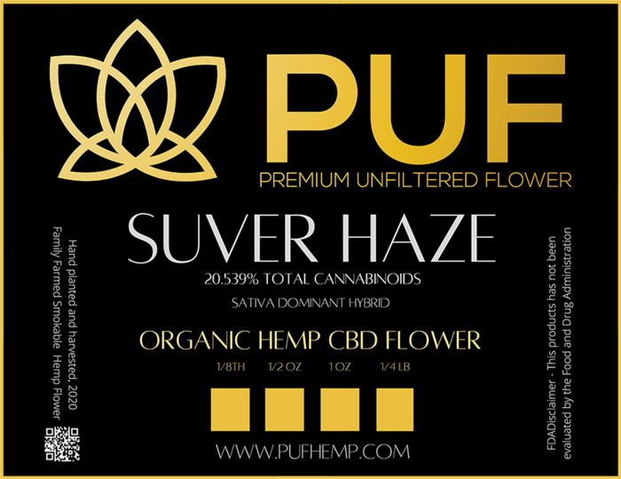 cbd label for silver haze hemp flower